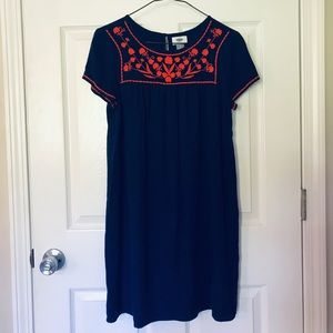 Embroidered Old Navy Dress Small Navy & Orange